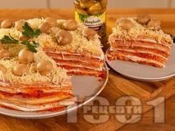 Солена палачинкова торта с пастет, лютеница, майонеза и мариновани гъби - снимка на рецептата